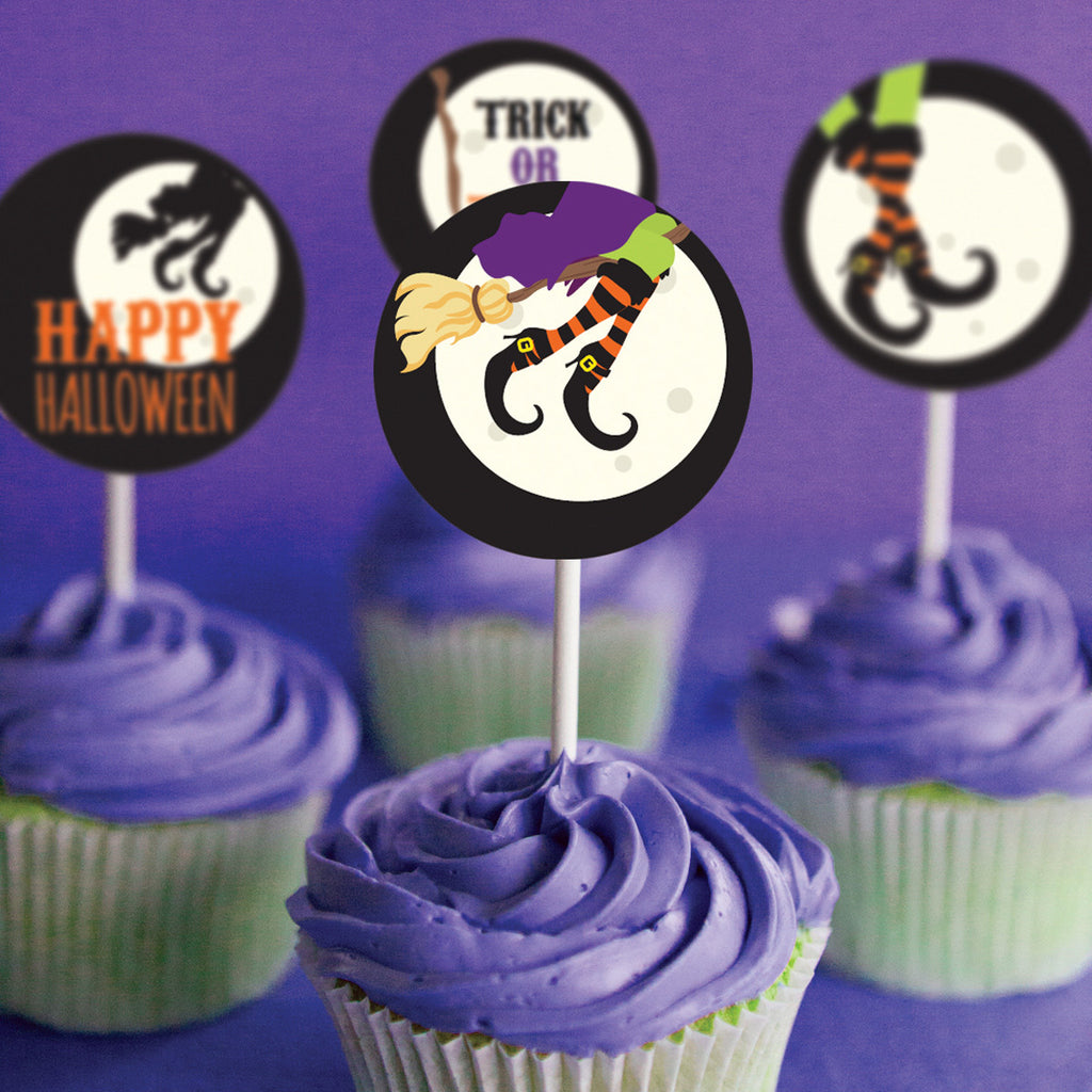 Halloween Cupcake Toppers | Witches Flying Broom Stick Toppers