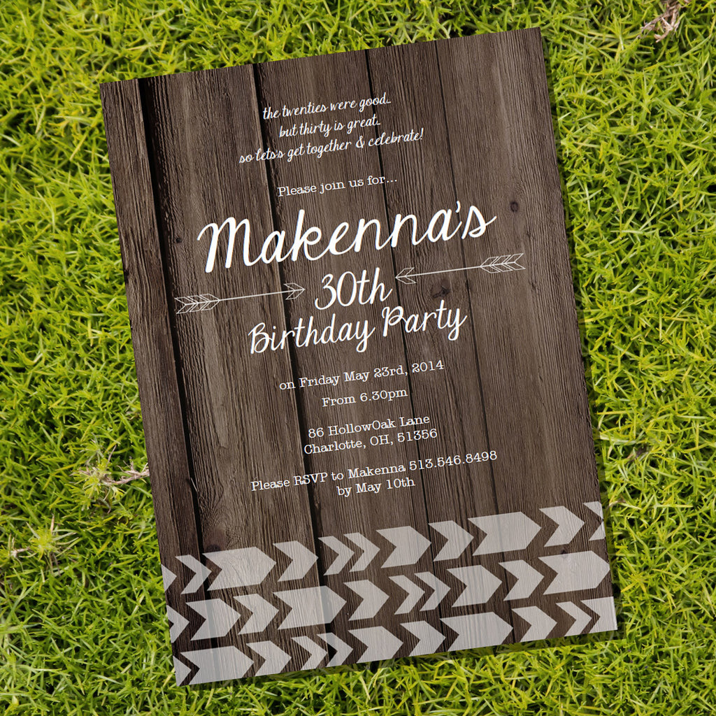Wooden Arrow Chevron Birthday Invitation