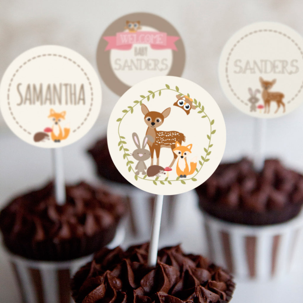 Woodland Baby Shower Cupcake Toppers For a Girl