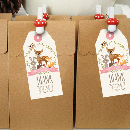 Woodland Baby Shower Favor Tags For A Girl