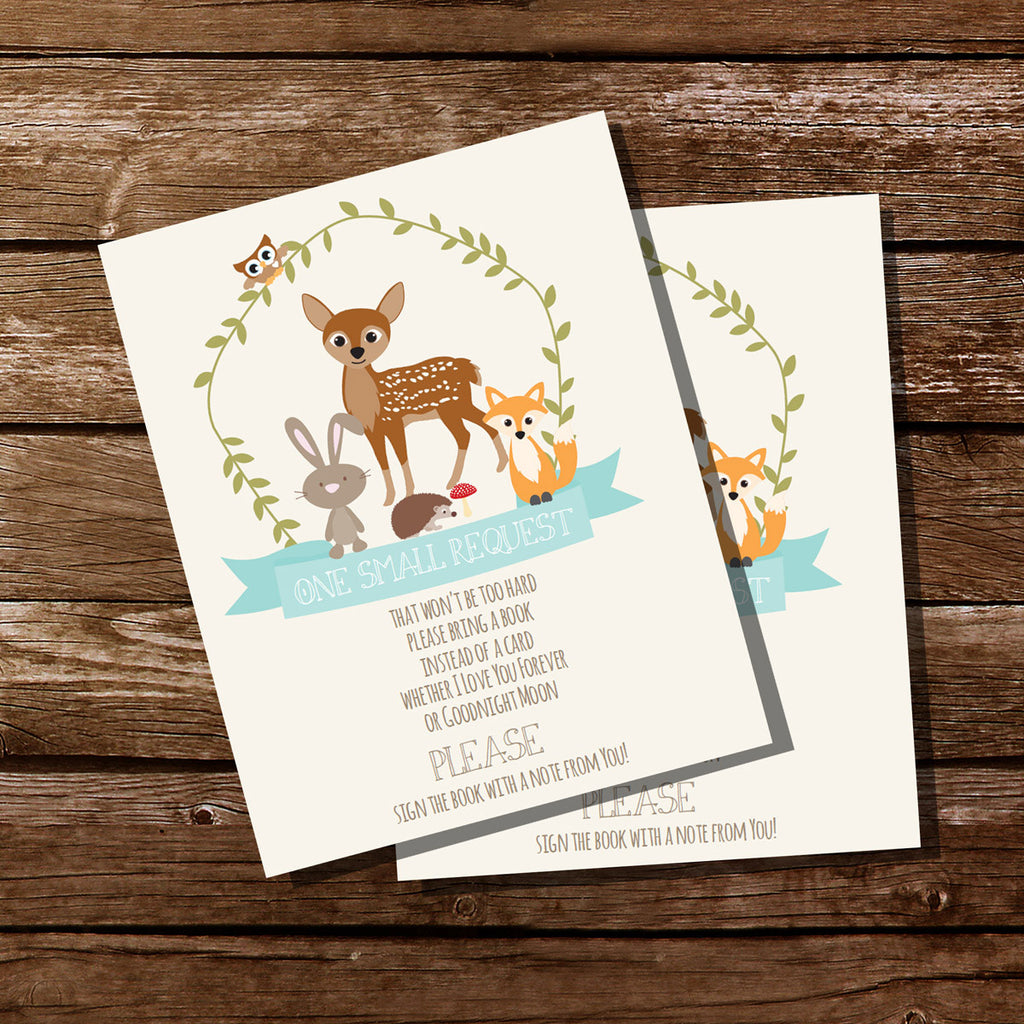 Woodland Baby Shower Bring A Book Insert Card