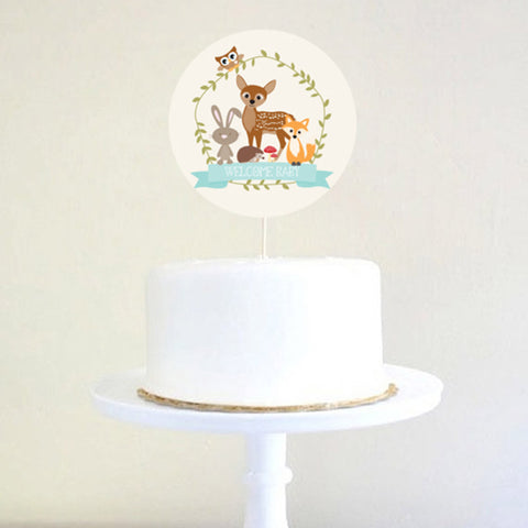 Woodland Baby Shower Cake Topper For a Boy
