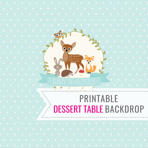 Woodland Baby Shower Dessert Table Backdrop For a Boy
