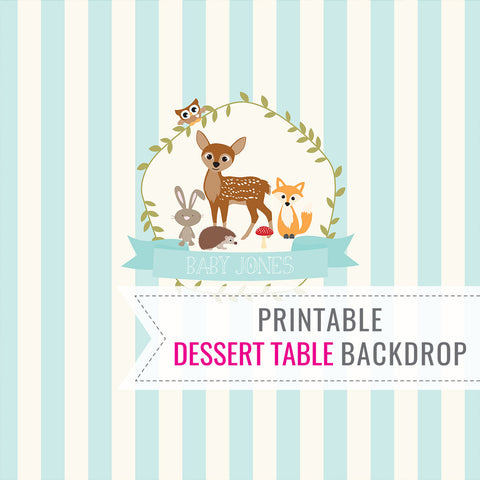 Woodland Baby Shower Party Table Backdrop For a Boy