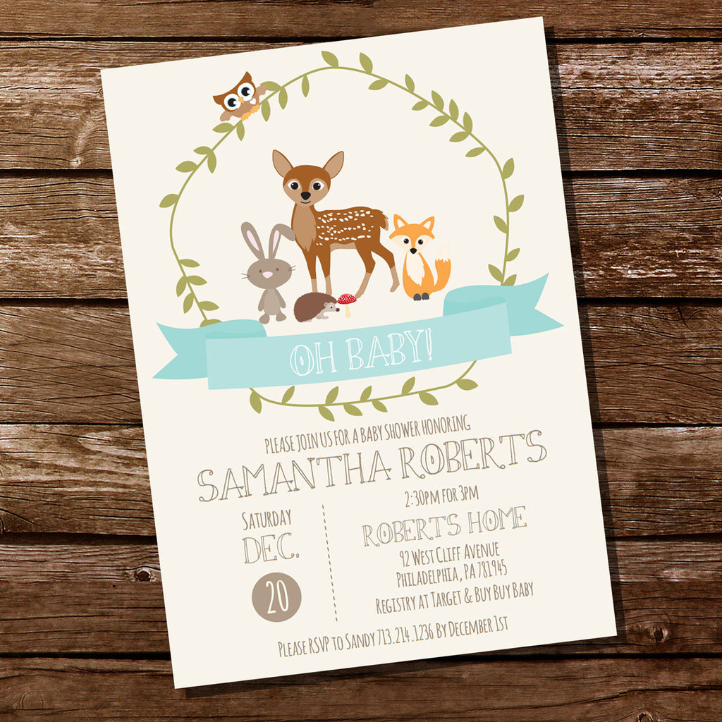 Woodland Baby Shower Invitation For a Boy Teal Baby Shower