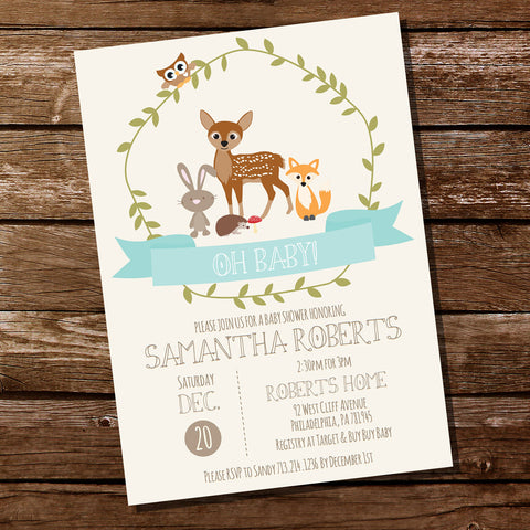 Woodland Baby Shower Invitation For a Boy