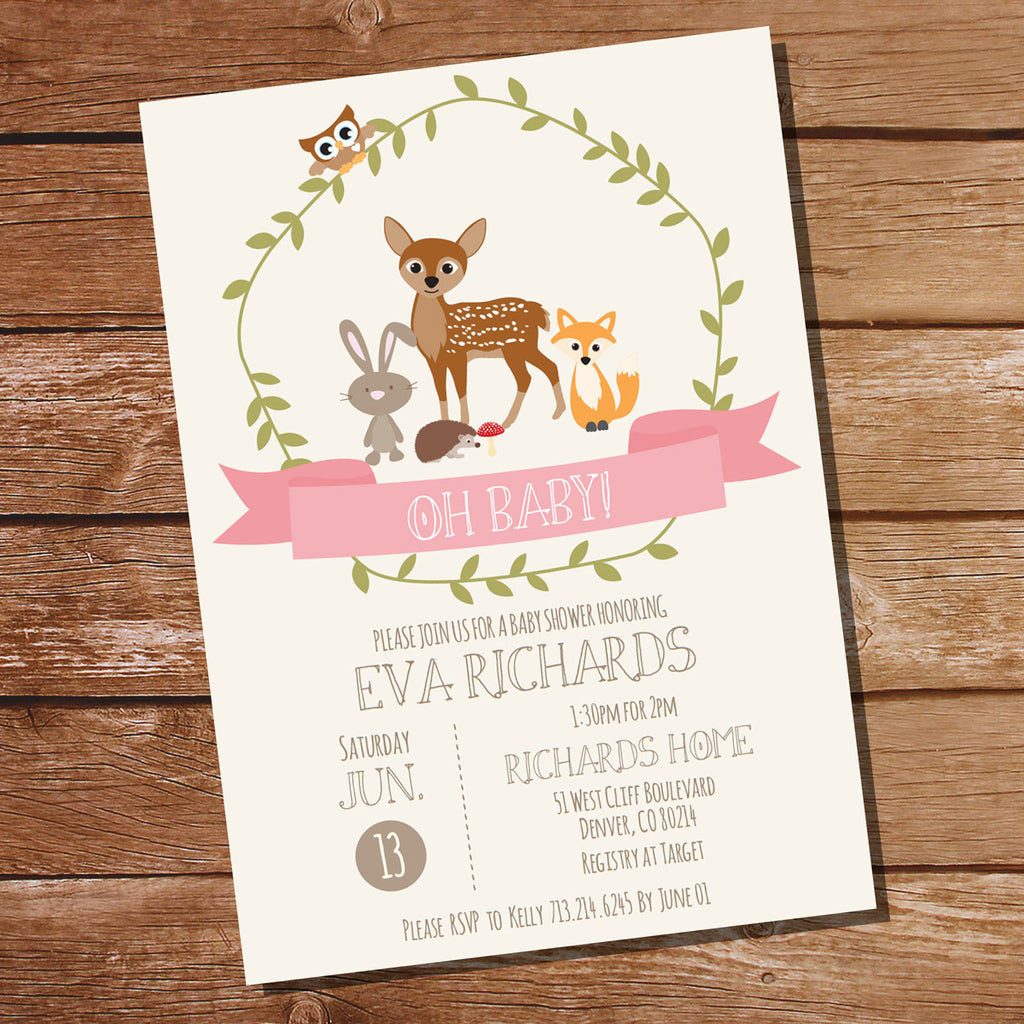 Woodland Baby Shower Invitation For a Girl | Pink Baby Shower