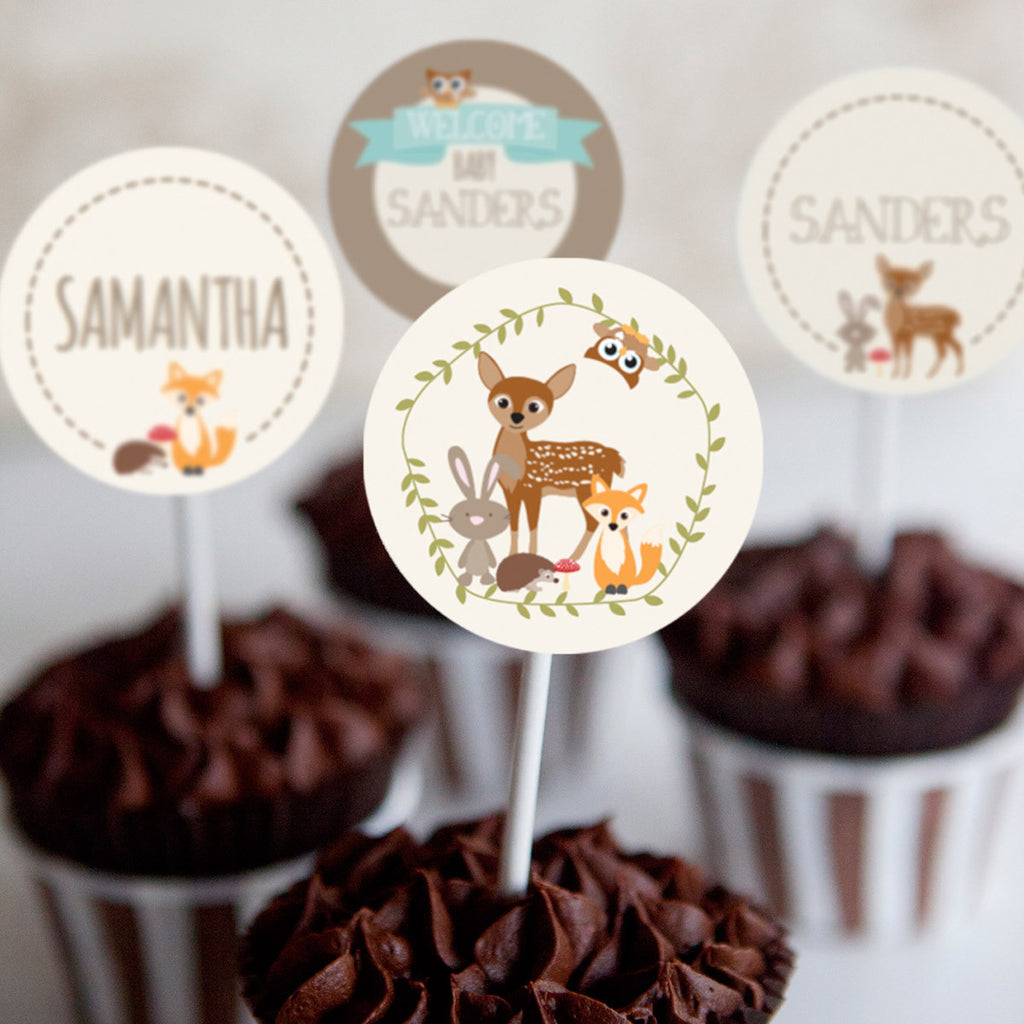 Woodland Baby Shower Cupcake Toppers
