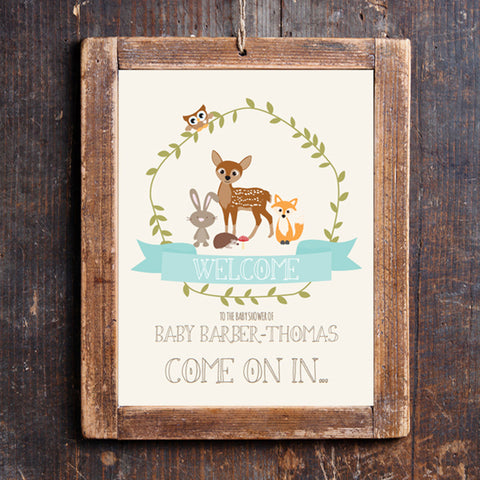 Woodland Baby Shower Door Sign for a Boy