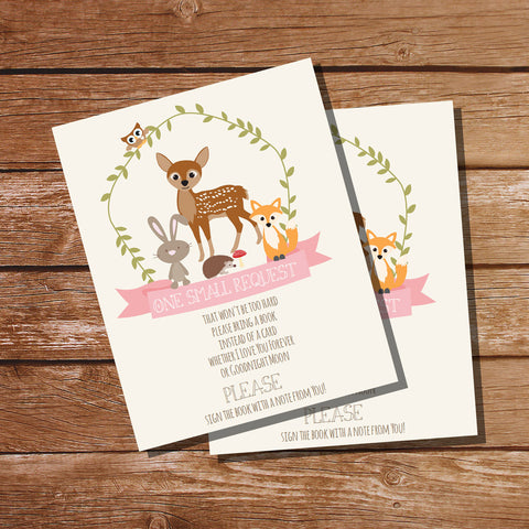Woodland Deer Baby Shower Bring A Book Insert Card