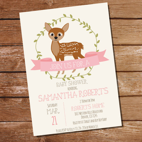 Woodland Deer Baby Shower Invitation For a Girl