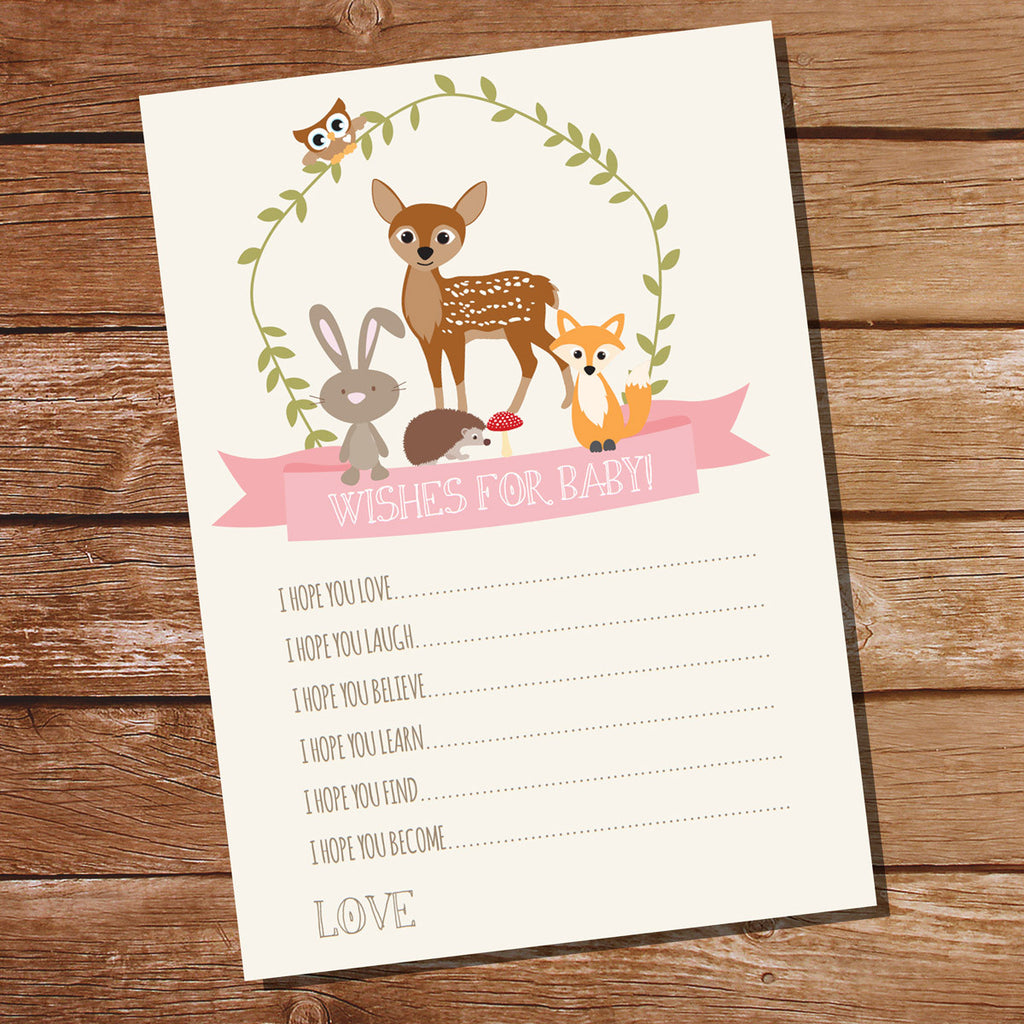 Woodland baby shower wishes for baby card for a girl baby shower how it works kristyandbryce Image collections