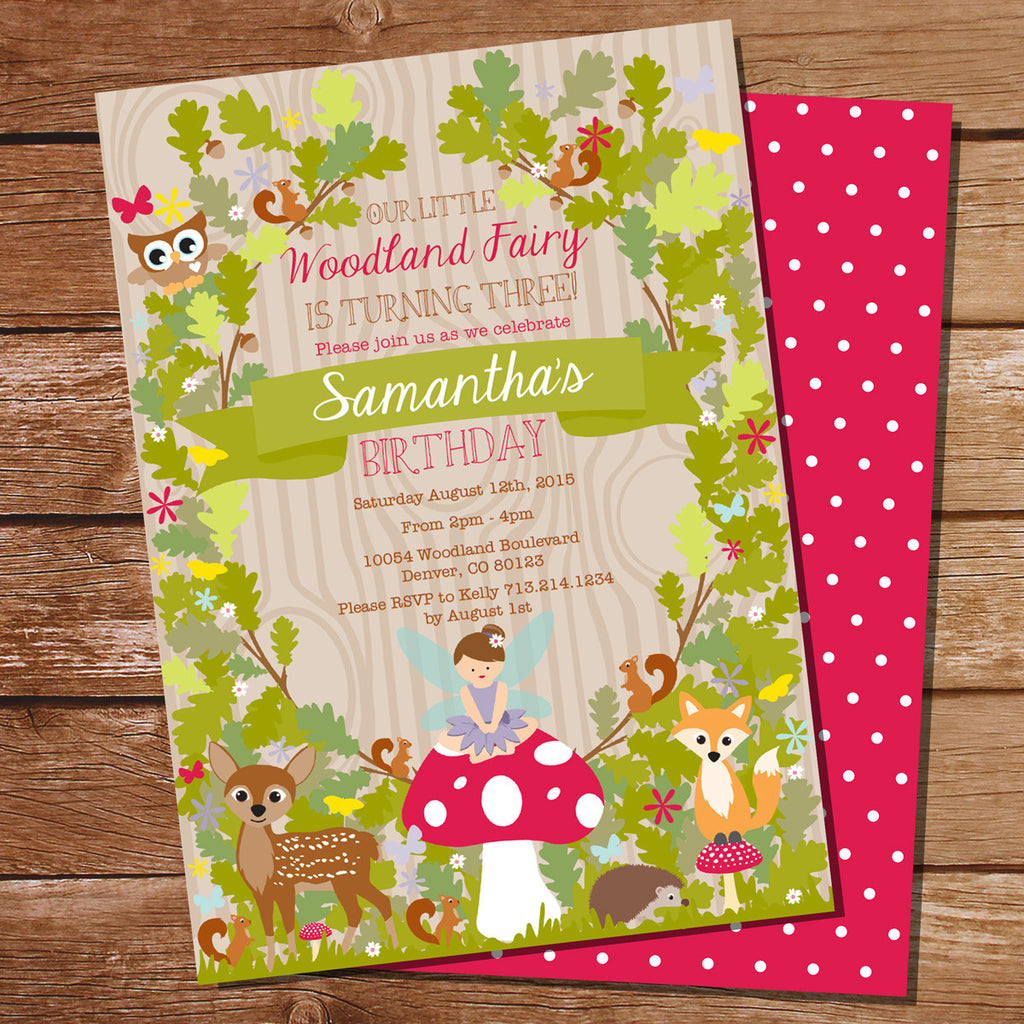 Enchanted Forest Fairy Invitation Woodland Fairy Invite Sunshine