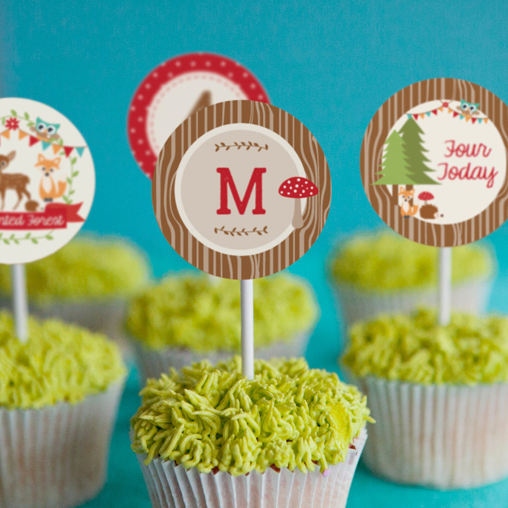 Woodland Enchanted Forest Party Cupcake Toppers