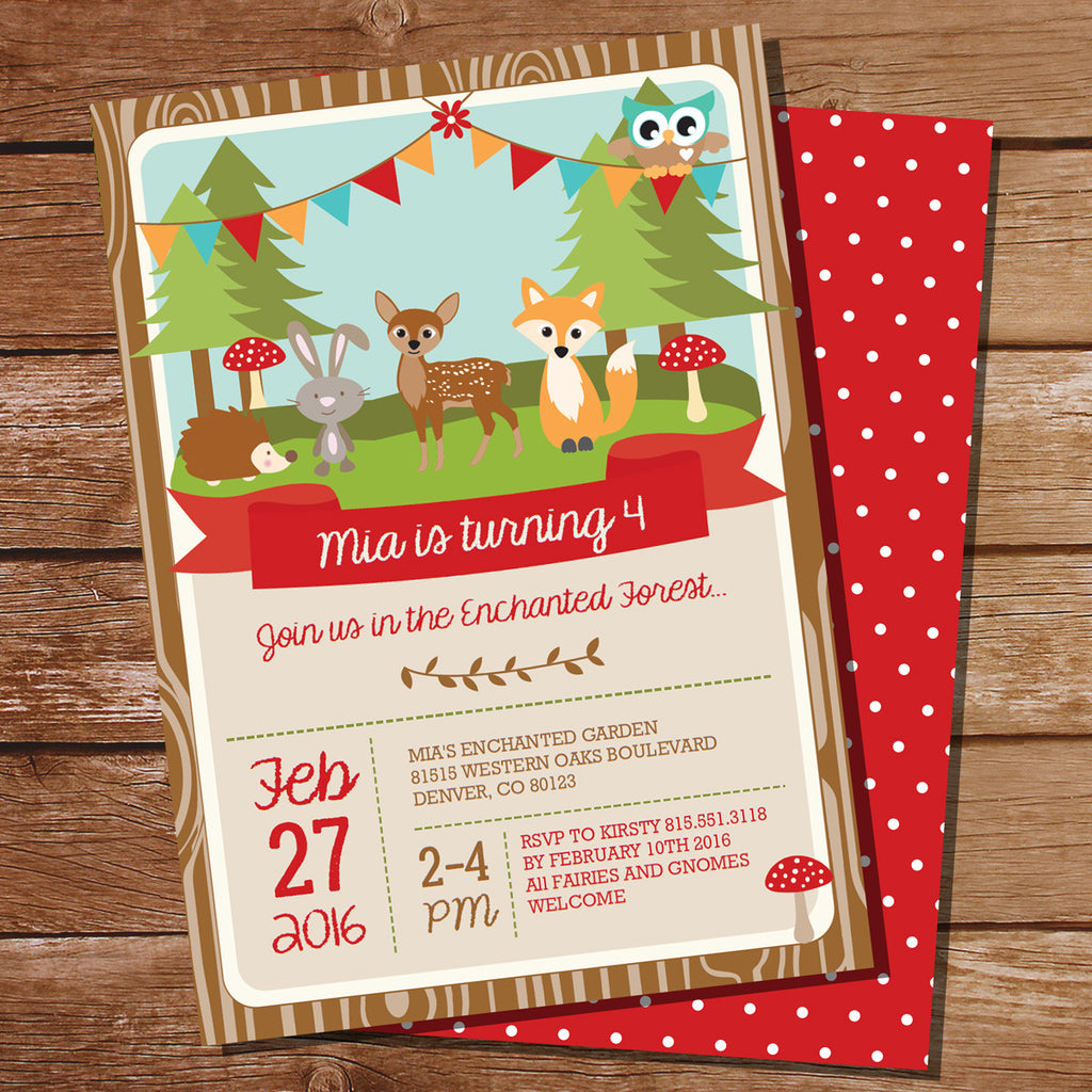 Woodland Enchanted Forest Birthday Party Invitation