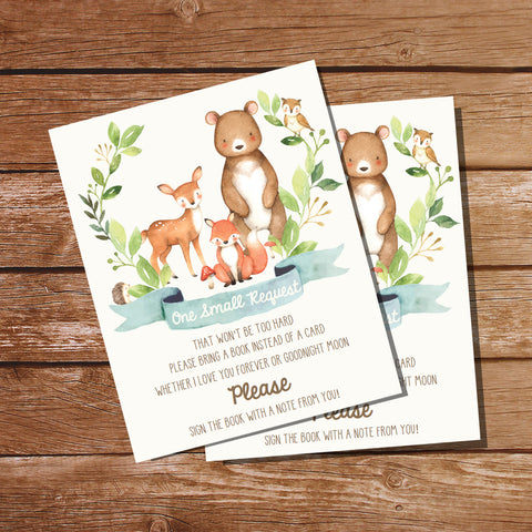 Woodland Baby Shower Bring A Book Card | Boy Woodland Baby Shower