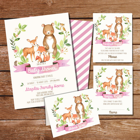Woodland Baby Shower Invitation Set