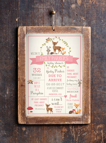 Woodland Baby Shower Printable Stats Poster