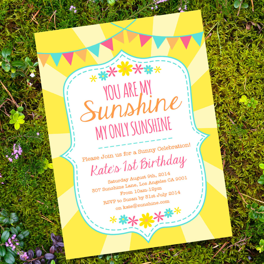 You Are My Sunshine Birthday Party Invitation | Yellow Sunshine Birthday Invite Template
