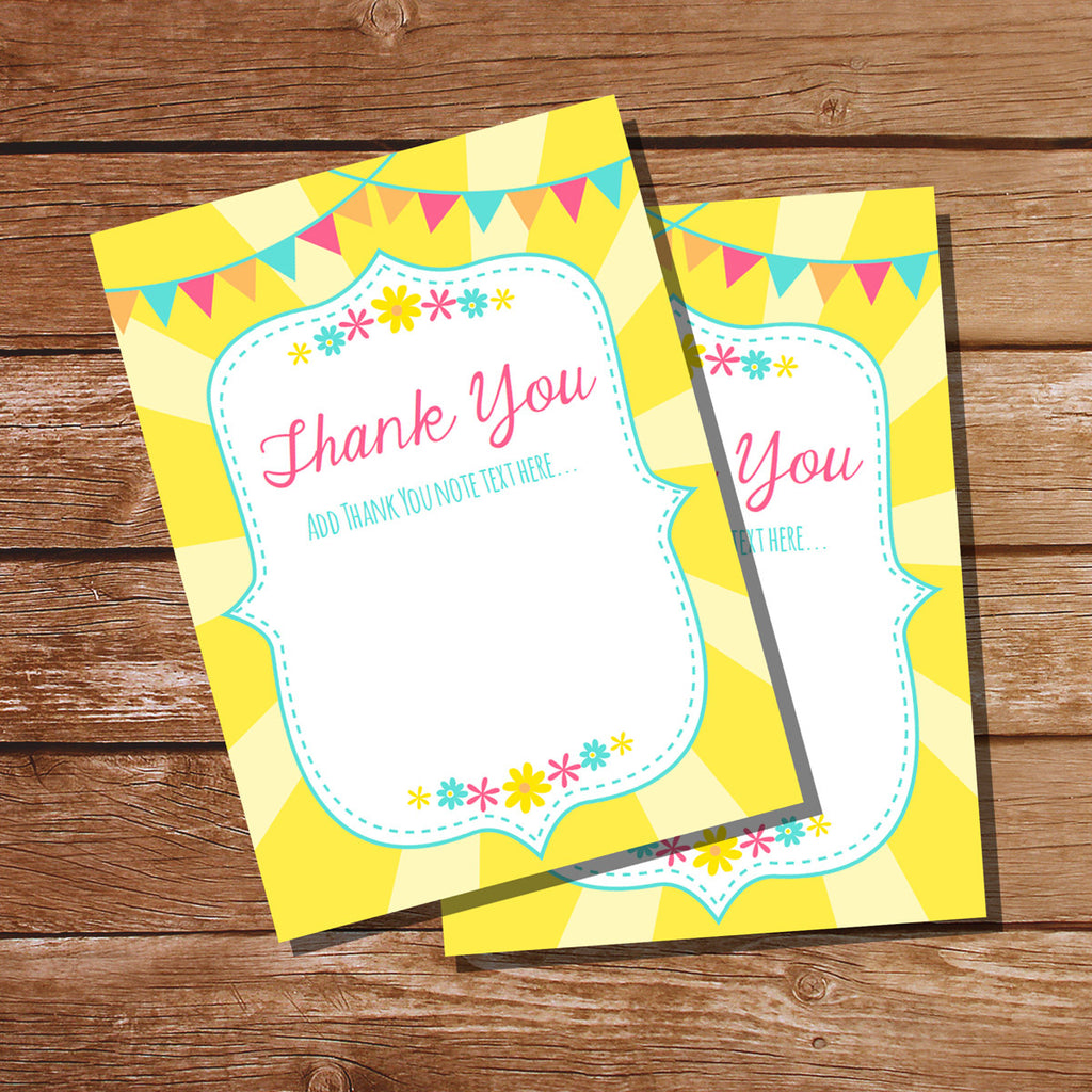 You Are My Sunshine Birthday Party Thank You Cards