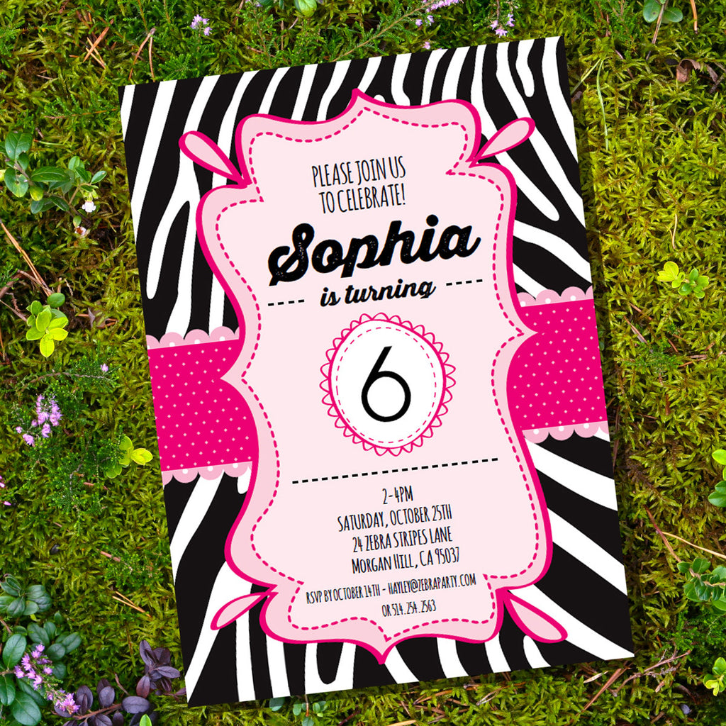 Zebra Print Party Invitation | Pink and Black Zebra Invite ...