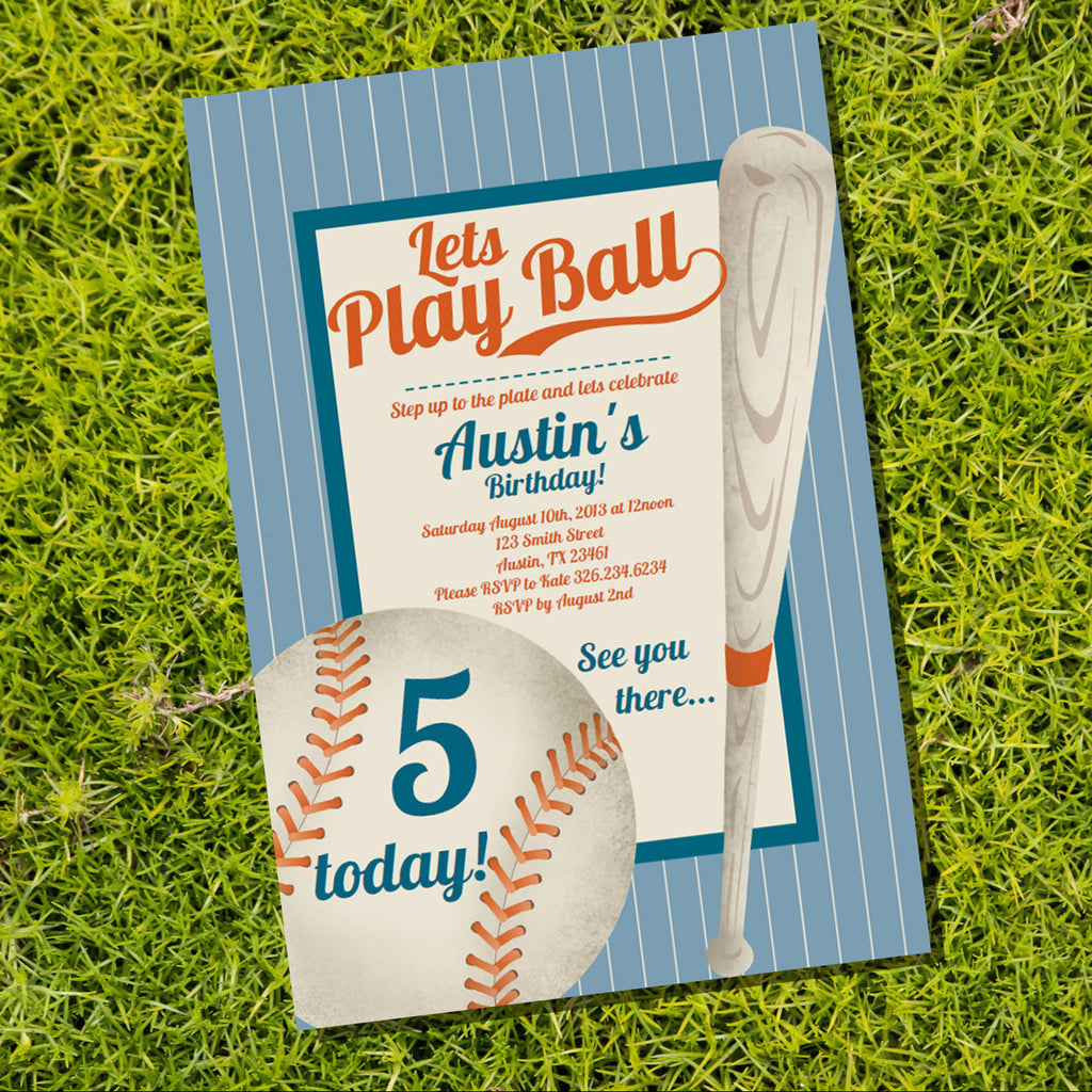 Baseball Party Invitation Boy - Editable