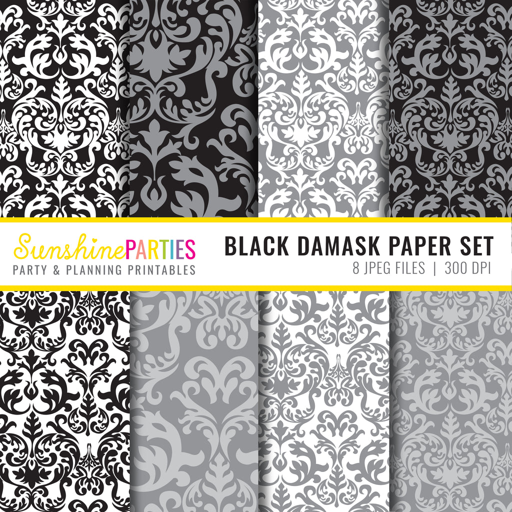 Black Damask Paper Set