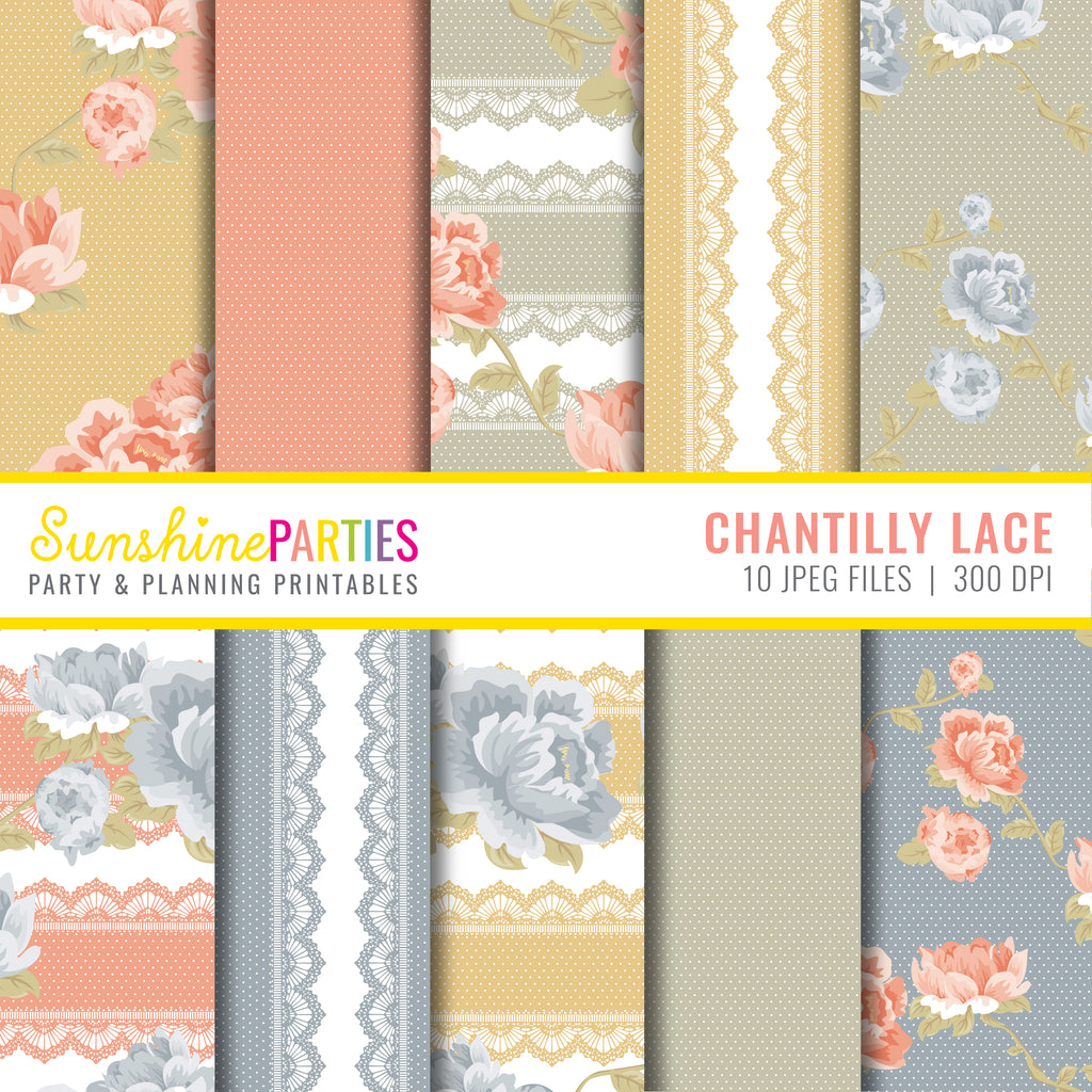 Chantilly Lace Digital Papers Set