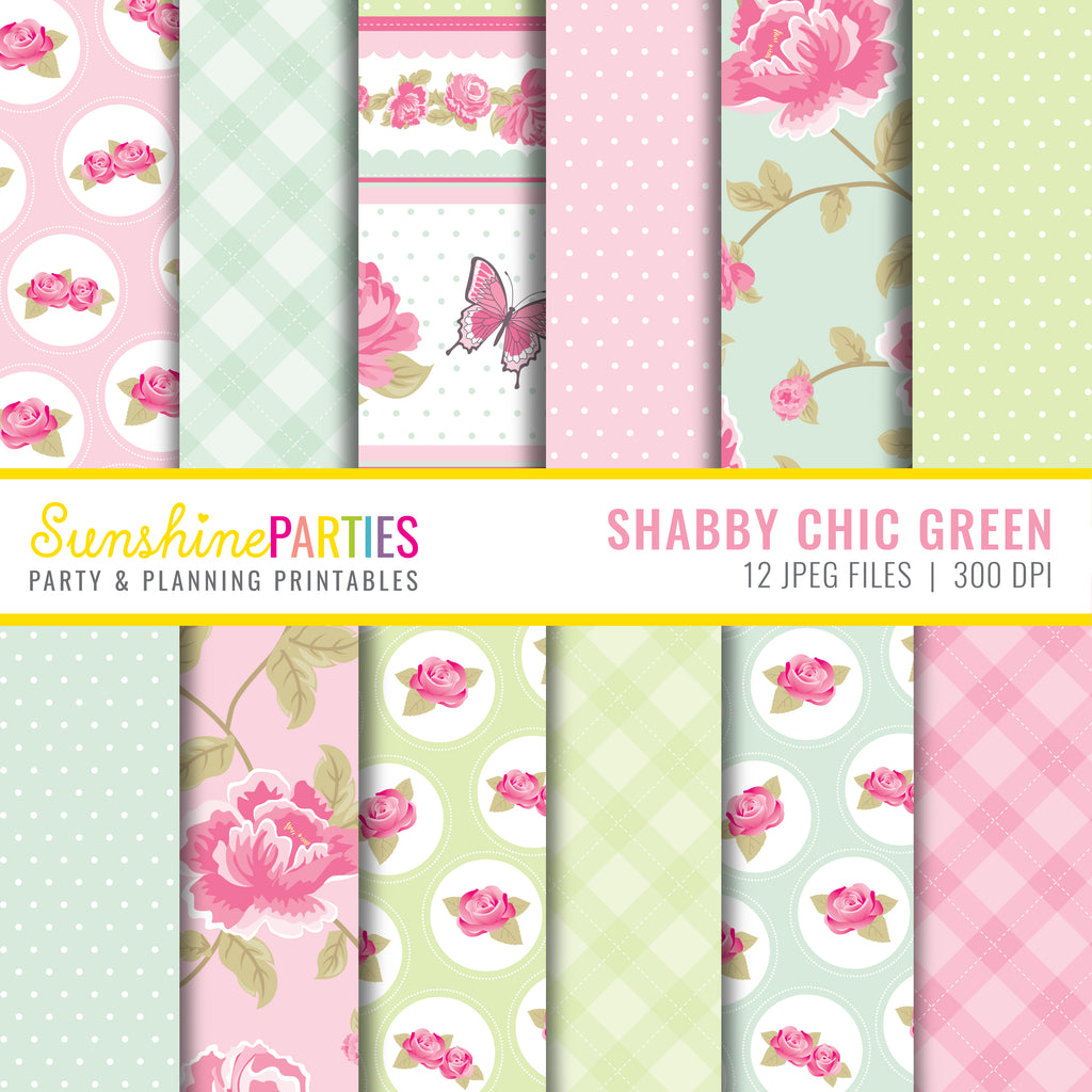 Chic and Shabby Pink & Green Paper Set | Digital Paper Bundle