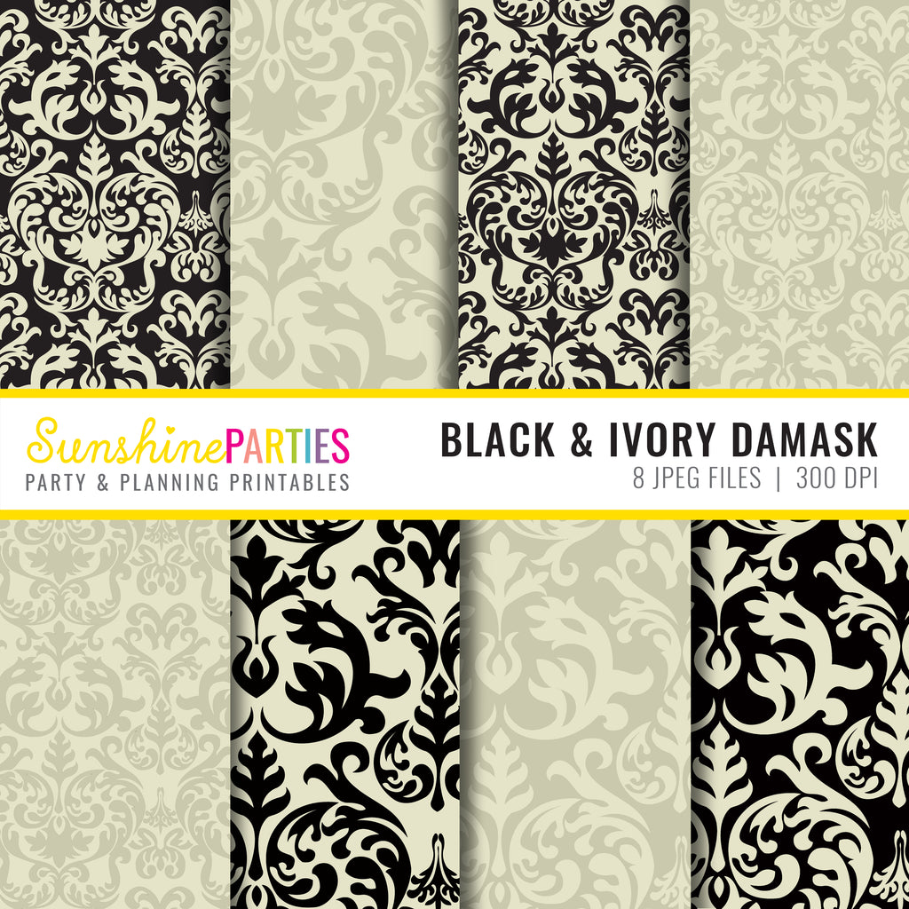 Black and Ivory Damask Digital Paper Designs