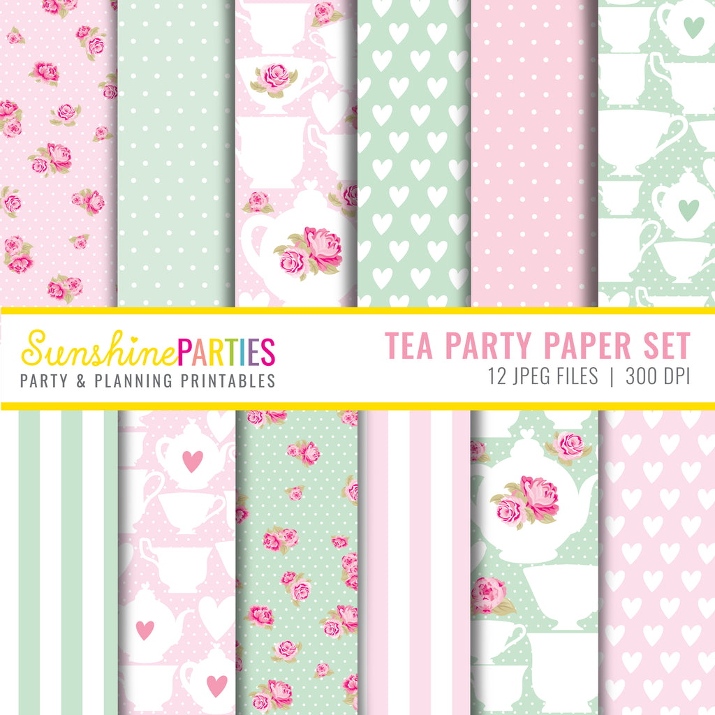 Mint Green and Pastel Pink Tea Party Scrapbooking Papers