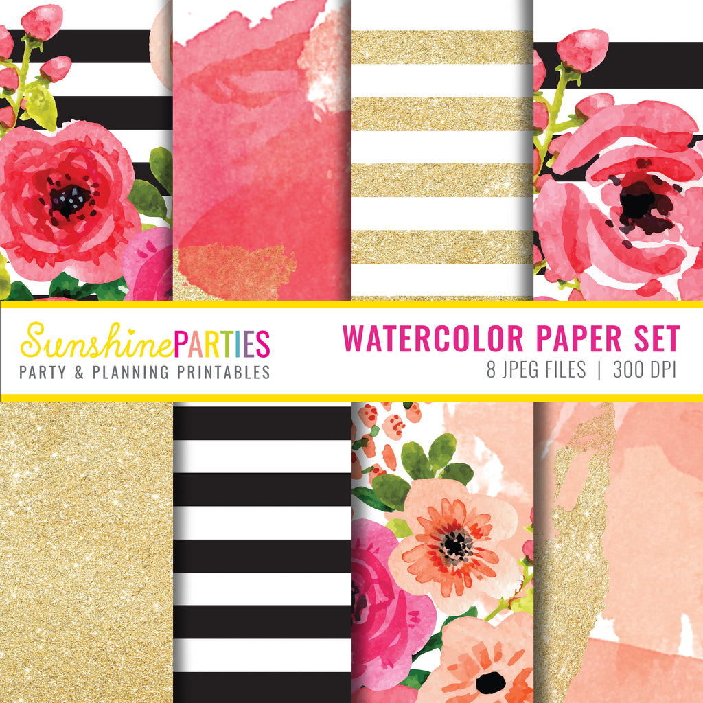 image relating to Printable Watercolor Paper identified as Watercolor Floral Electronic Paper Fastened Watercolor Style and design Paper Fastened