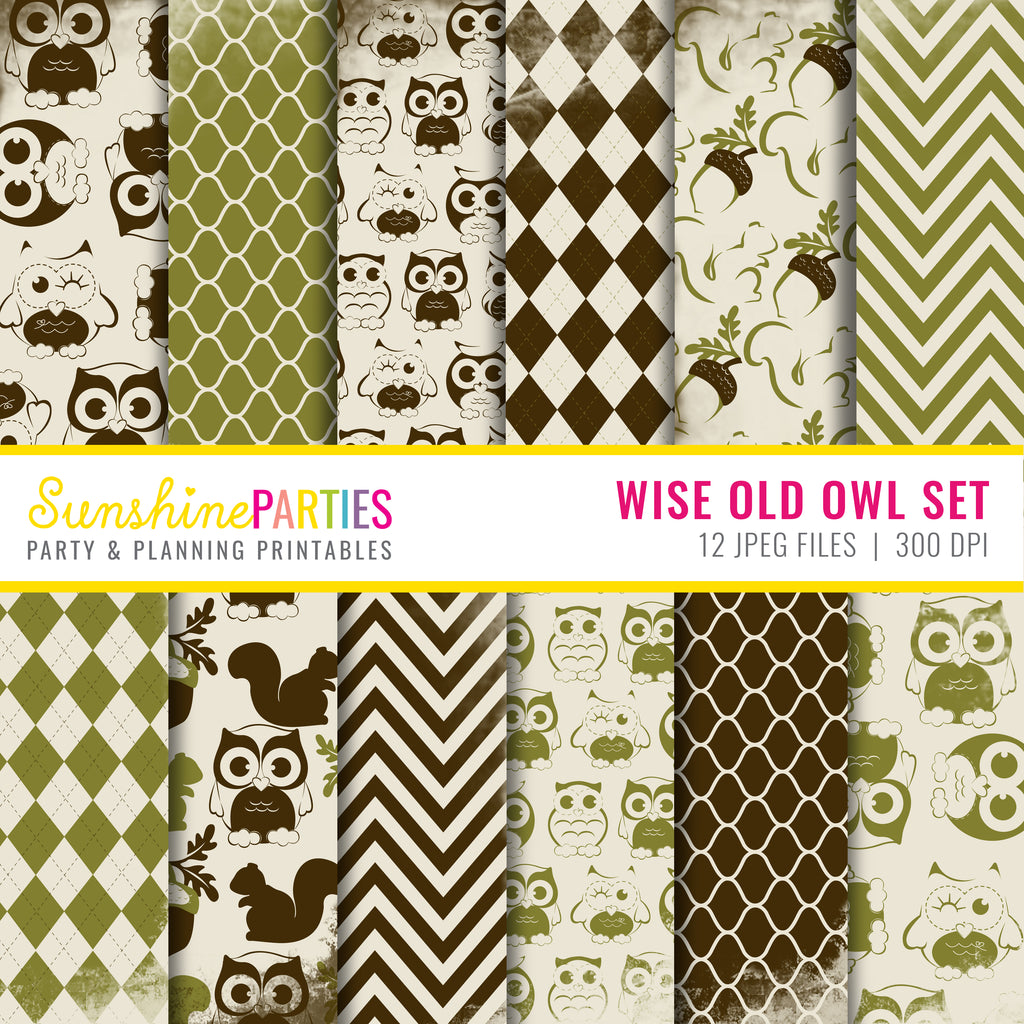 Wise Old Owl Digital Paper Set