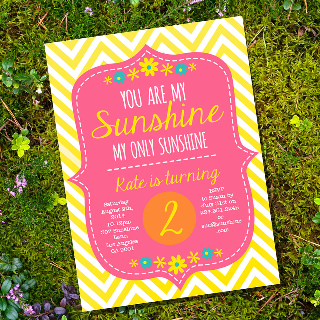 You Are My Sunshine Birthday Party Invitation | Pink and Yellow Birthday Invite