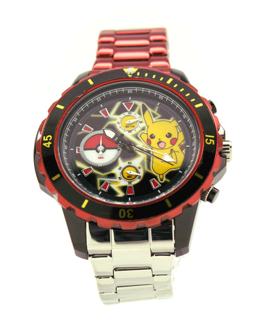 Pokemon Pikachu Men's or Women's Genuine Diver Style Chronograph Stainless Steel Watch Water Resistant Pokémon Nintendo (POK8013)