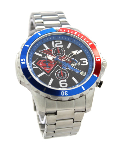 Superman Clark Kent Men's or Women's Silver Retro Red and Blue Diver Style Chronograph Watch Justice League DC Comics (SUP8058)