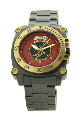 The Flash Speed Force Men's Stainless Steel Water Resistant Watch Day and Date Movement DC Comics (FLT8007)