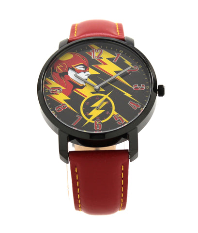 The Flash The Fastest Man Alive Men's or Women's Genuine Leather Water Resistant Chronograph Watch DC Comics (FLT5002)