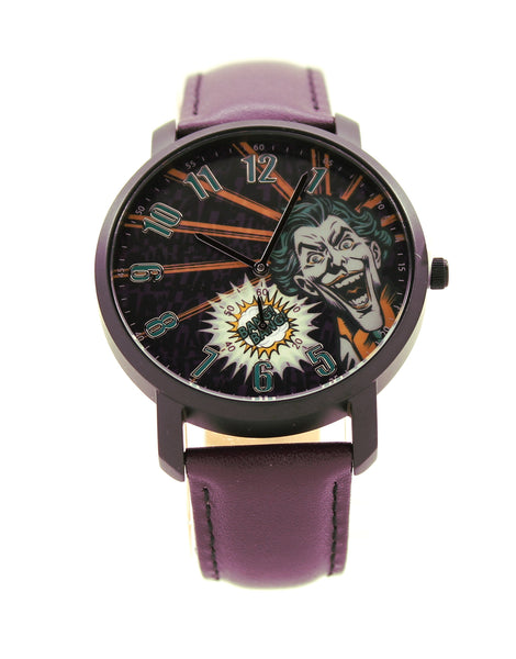 The Joker Crown Prince of Crime Men's or Women's Genuine Leather Chronograph Watch DC Comics (JKR5013)
