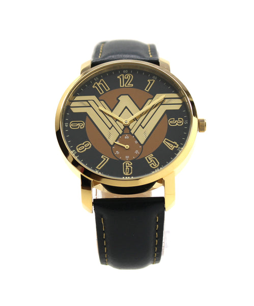 Wonder Woman Iconic Women's or Men's Genuine Leather Justice League Movie DC Comics Chronograph Watch (WOM5004)