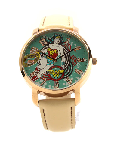 Wonder Woman Retro Wonderous Women's or Men's Genuine Leather Justice League Movie DC Comics Watch (WOW5090)