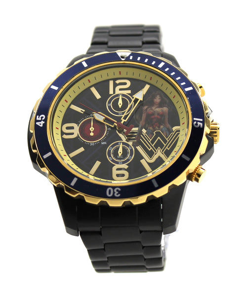 Wonder Woman WW84 Women's or Men's Genuine Diver Style Justice League Movie DC Comics Chronograph Stainless Steel Watch (WOM8008)