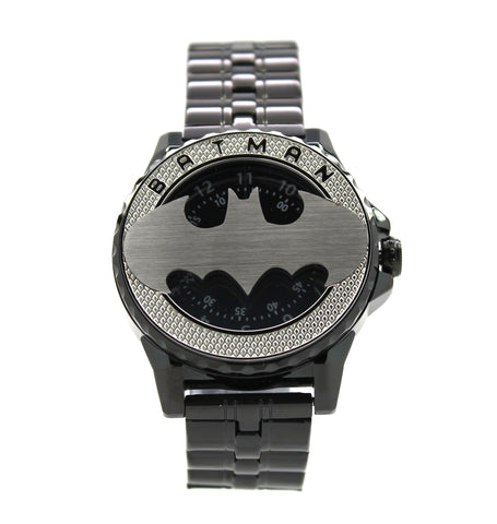 Batman Bruce Wayne Limited Edition Rotator Men's or Women's Brushed Silver Watch Justice League DC Comics(BAT5114)