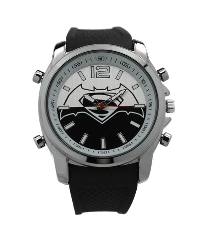 "Batman V Superman ""Black and White"" DC Comics Men's Watch (BVS9054) - SuperheroWatches.com"