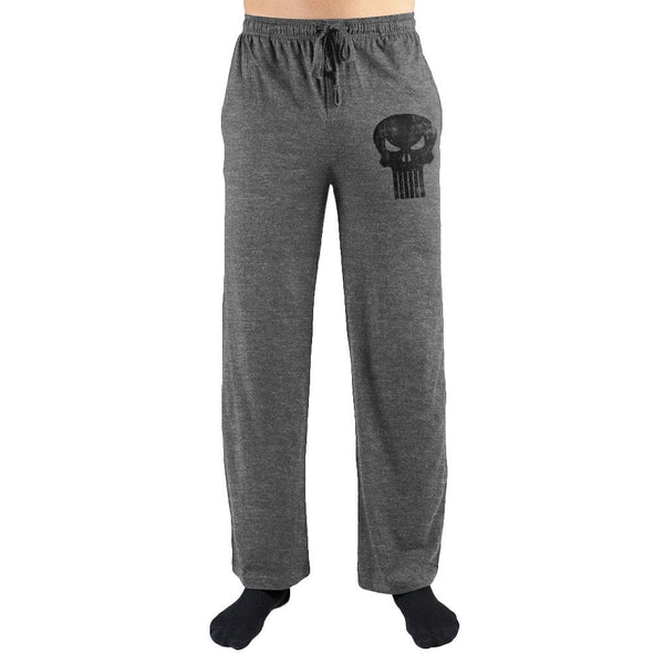 Marvel Comics The Punisher Black Skull Print Men's Lounge Pants - SuperheroWatches.com