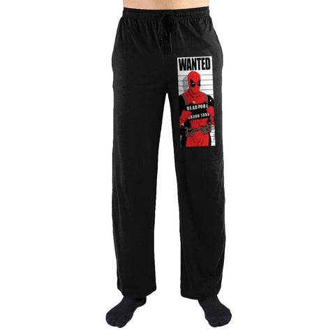 Marvel Comics Wanted Deadpool Mugshot Print Men's Nightwear Lounge Pants - SuperheroWatches.com