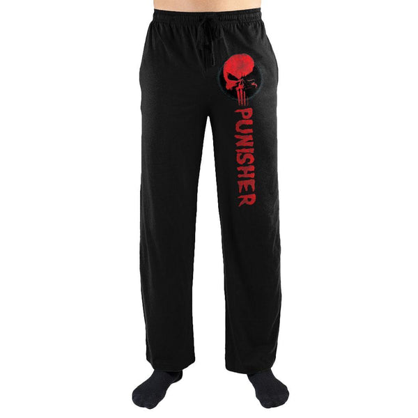 Marvel Comics The Punisher Red Skull Print Men's Loungewear Lounge Pants - SuperheroWatches.com