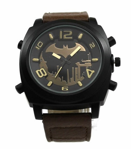 Batman Arkham City Earth Brown Strap Watch (ARK5007) - SuperheroWatches.com