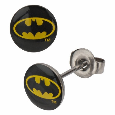 Batman Logo Stud Earrings (BATMER02) - SuperheroWatches.com