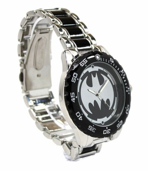 Batman Logo Watch with Black Metal Bracelet Band (BAT8025) - SuperheroWatches.com
